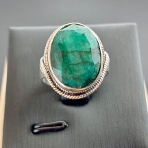 110608 BAGUE RACINE D'EMERAUDE OVAL - image 1