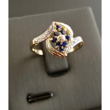 BAGUE SAPHIRS + DIAMANTS Or 750 Millième (18 CT) 2,60g - image 1